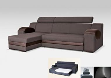 UNIVERSAL HAND CORNER SOFA BED - MADRIT - BROWN FABRIC & FAUX LEATHER 260CM (Brown, 260 CM)