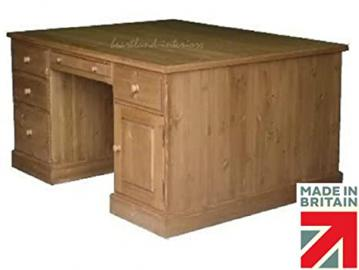 Solid Pine Partners Desk, Handcrafted & Waxed Twin Pedestal Executive Writing Desk with Filing Drawers. No flat packs, No assembly. Choice of Colours (DPD1)