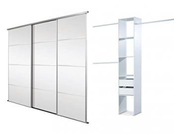 Triple, 4 Panel Silver Framed Mirror, Sliding Wardrobe Door Kit. Up to 2692mm (8ft 10ins) wide.