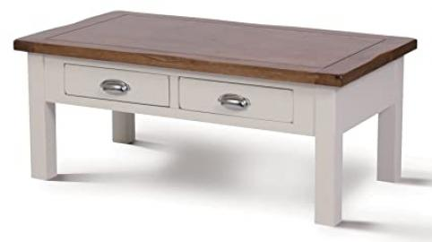 Ascot Oak 4 Drawer Coffee Table Oak and Stone White Painted Finish | Rectangular Lounge Storage with Shelf