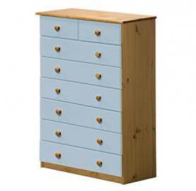 Design Vicenza Verona 6+2 Drawer Chest Antique With Baby Blue Details