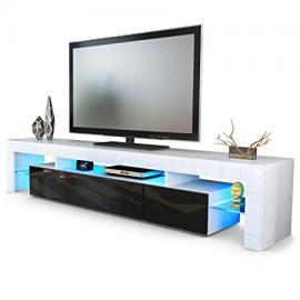 TV Stand Unit Lima V2, Carcass in White / Front in Black High Gloss