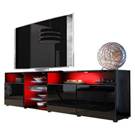 TV Unit Stand Granada V2, Carcass in Black High Gloss / Front in Black High Gloss