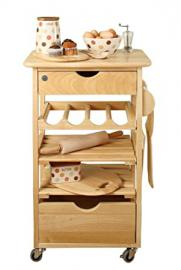 T&G Kitchen Compact Kitchen Trolley, Natural Hevea