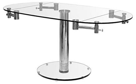 Febland Top Oval Extending Dining Table, Glass, Clear/Transparent