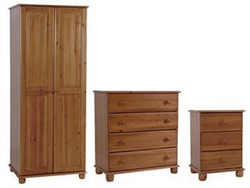 Heartlands Furniture Skagen Trio Wardrobe/ Bedside/ Chest, Antique Pine