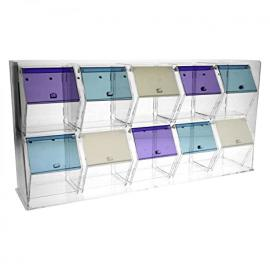 Clear and coloured acrylic candy bin with drawers and 10 compartments with reclosable opening Dimensions: 27.17''W x 5.51''D x 13.39''T