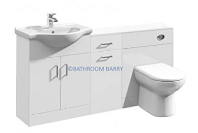 1600mm Modular High Gloss White Bathroom Combination Vanity Basin Sink Cabinet, Laundry Cupboard Unit, WC Toilet Furniture & BTW Pan