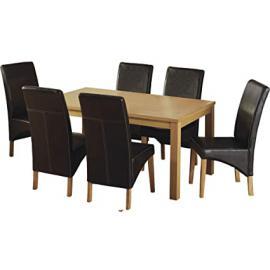Belgravia Dining Set in Natural Oak Veneer/Expresso Brown PU