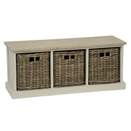 Southwold bench with 3 rattan baskets in grey from TOBS