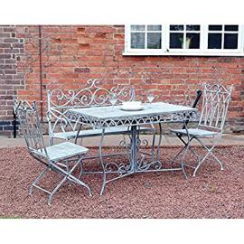 Kingfisher FSVG2 Grey Vintage Dining Set - White (4-Piece)