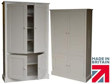 100% Solid Wood Cupboard, 172 cm Tall White Painted Linen, Pantry, Larder, Filling, Shoe, Bathroom, Hallway or Kitchen Storage Cabinet. No flat packs, No assembly (CUP100-P)