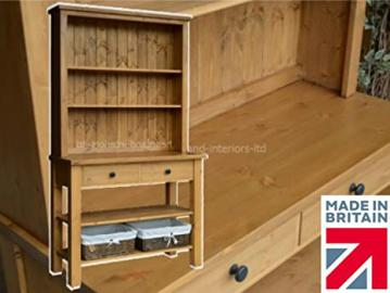 Heartland Solid Pine Buffet Hutch with Baskets, Handcrafted & Waxed Bordeaux Open Top Sideboard. Choice of Colours. No flat packs, No assembly (BXP-07)