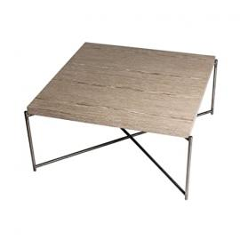 Gillmore Space Weathered Oak Square Coffee Table with Gun Metal Cross Base