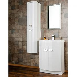 Home Standard Emperor White Gloss D Shape Bathroom Combination Vanity Basin Unit & Tall Unit Furniture Package