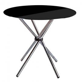 Protege Homeware Black Tempered Glass Chrome Finish Legs Dining Table