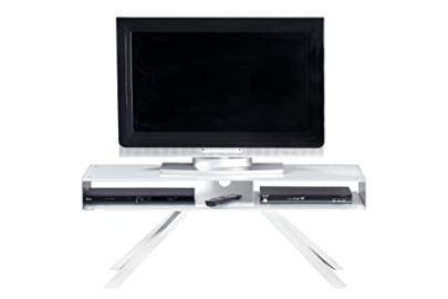 Jahnke Smart TV WGL/Weißglas Alu polished TV Stand, Genuine Polished Aluminium, Tempered Safety Glass, powder-coated Metal, 110x 40x 42cm