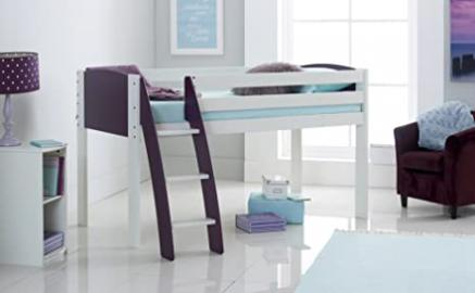 Cabin Bed 3FT Wide Shorty - White/Plum - Curved Ladder - Made In The UK.