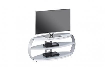 Maja 16339405TV Stand, 1220x 508x 450mm Aluminium Metal/Glass Platinum Grey