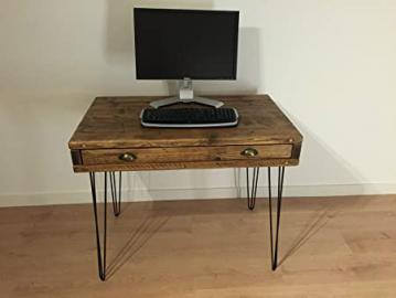 Kowoodworks - Reclaimed Pine Desk with Drawer Solid Wood Dressing Table Metal Hairpin Legs (40cm x 120cm, Natural)