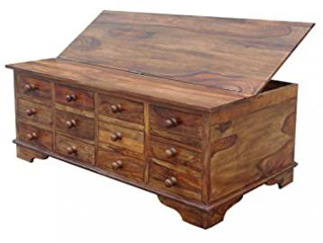 SOLID SHEESHAM WOOD 12 DRAWER COFFEE TABLE TRUNK CHEST