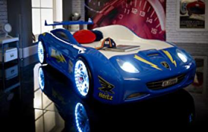 Speedster viper car racer 3ft bed - LED AND SOUND - Blue - Childrens kids boys beds