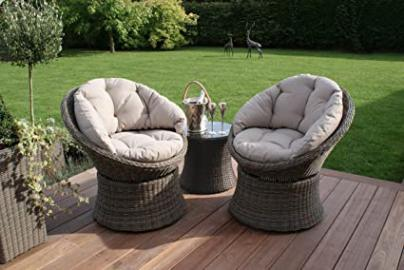 Maze Rattan Outdoor Garden Furniture Winchester 3 Piece Natuarl Swivel Lounge Chair Set
