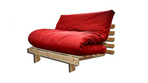 Sofa bed Roots, Natural, Red Cover, 200 x 140 cm.