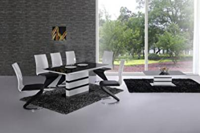 Arctic Black Glass and White High Gloss Extending Dining Table - Extending Function - Contemporary - Italian Dining - Table and 6 Leona Z Chairs