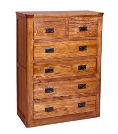 100% Solid Oak Large Chest of Drawers | Tall Wooden Childrens Bedroom Furniture
