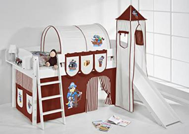 Kids Cabin Bed Lilo Ida 4105 – Divisible System Bunk Bed – White with Brown Pirate Tower, Slide and Tent