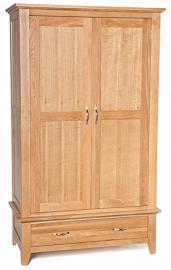 Camberley Oak 1 Drawer Full Hanging Wardrobe in Light Oak Finish | Wooden Children's / Kids / Gents / Double Robe