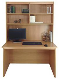 Home Office Furniture UK Computer Desk Table HUTCH Unit Kids Living Room, Wood, Classic Oak, Wood Grain Profile, 4-Piece