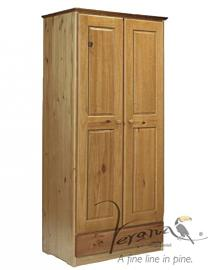 Verona Design Verona 2 Door Wardrobe With Drawer Antique With White Details