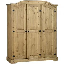 CORONA RUSTIC MEXICAN SOLID WAXED PINE 3 DOOR LARGE TRIPLE WARDROBE