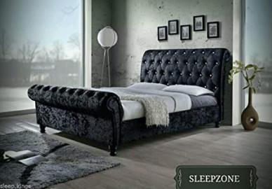 Modern Designer Bed Frame - Chesterfield Sleigh Style - Upholstered in Crushed Velvet (4ft6 Double, Slate Grey)