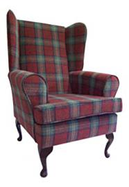 Queen Anne Style Chair In A Sun Red Tartan Fabric ...wing back fireside high back chair. Ideal bedroom or living room furniture