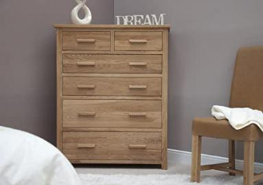 Eton solid oak furniture large bedroom jumbo chest of drawers