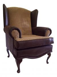 Cottage/Wing Back/Queen Anne Chair in Brown Snakeskin Faux leather & Camel Jumbo Cord Fabric