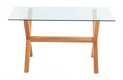 Yakoe Extendable Rectangular Top Dining Table Solid Legs, Glass, Oak