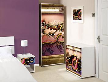 Graffiti Design Childrens/Kids White Bedroom Furniture Set