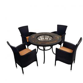 "EUROPA LEISURE ZE/0DURTT-04STKA ""Durango"" Patio Table with 4 Stockholm Black Chairs - Stone"