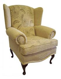 Cottage/Wing Back/ Queen Anne Chair in Stone Maida Vale Chenille Fabric QA Legs