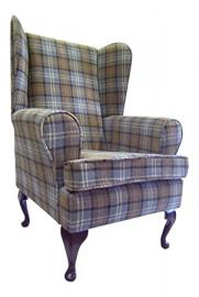 Queen Anne Style Chair In A Beige Tartan Fabric ...wing back fireside high back chair. Ideal bedroom or living room furniture
