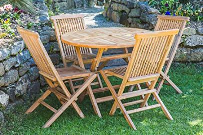 Solid Teak 1m Circular Folding Table and Folding Chair Garden Furniture Set