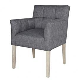 MADE BY WOOOD - Chaise fauteuil design confortable tissu gris