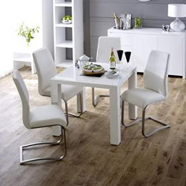 White High Gloss Square 4 Seater Dining Table with 4 White Faux Leather Dining Chairs