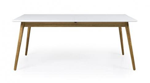 Tenzo Dot Extendable Designer Dining Table, MDF, White/Oak, 75 x 180/240 x 90 cm