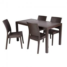 Alfresia Florida Rectangular Poly-Resin Weave-Effect Garden Dining Set - Brown