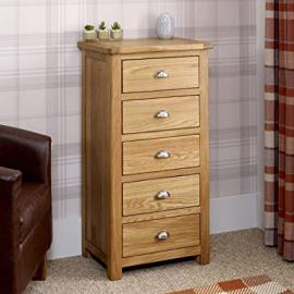 Kent Oak 5 Drawer Tallboy Chest